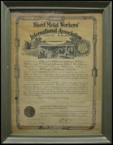 Sheet Metal Workers International Association Charter 1924