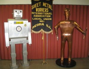 COPPER MAN AND ALUMINUM ROBOT